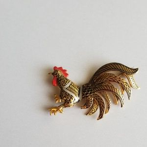 "Jewelry - Vintage Rooster Brooch Pins signed""Spain"""
